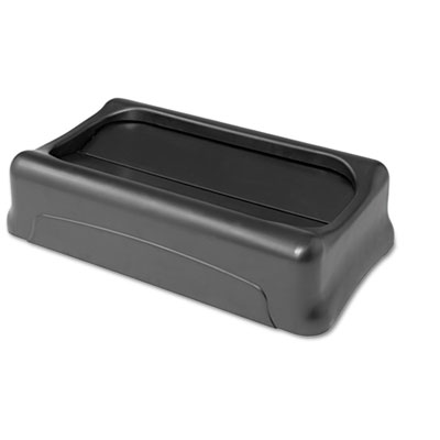 RubberMaid Swing Top Lid for Slim Jim Waste Containers 11.38w x 20.5d x 5h Plastic Black