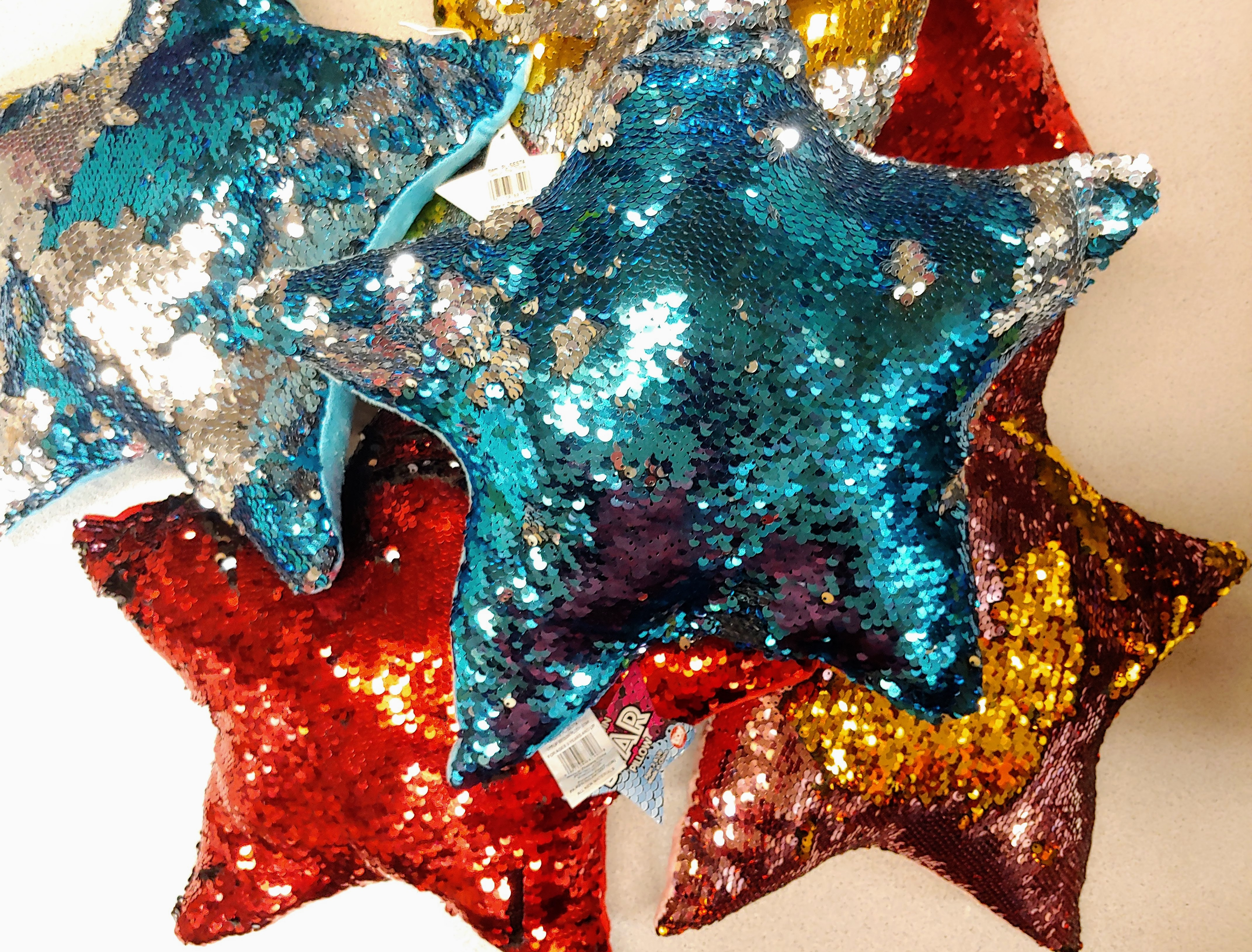 "Sequin Star Pillow Plush 15"" inches (12 ct.)"