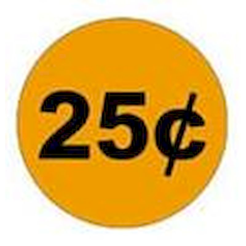 25 Cents Price Decal - Outside Adhesion (12 ct.)