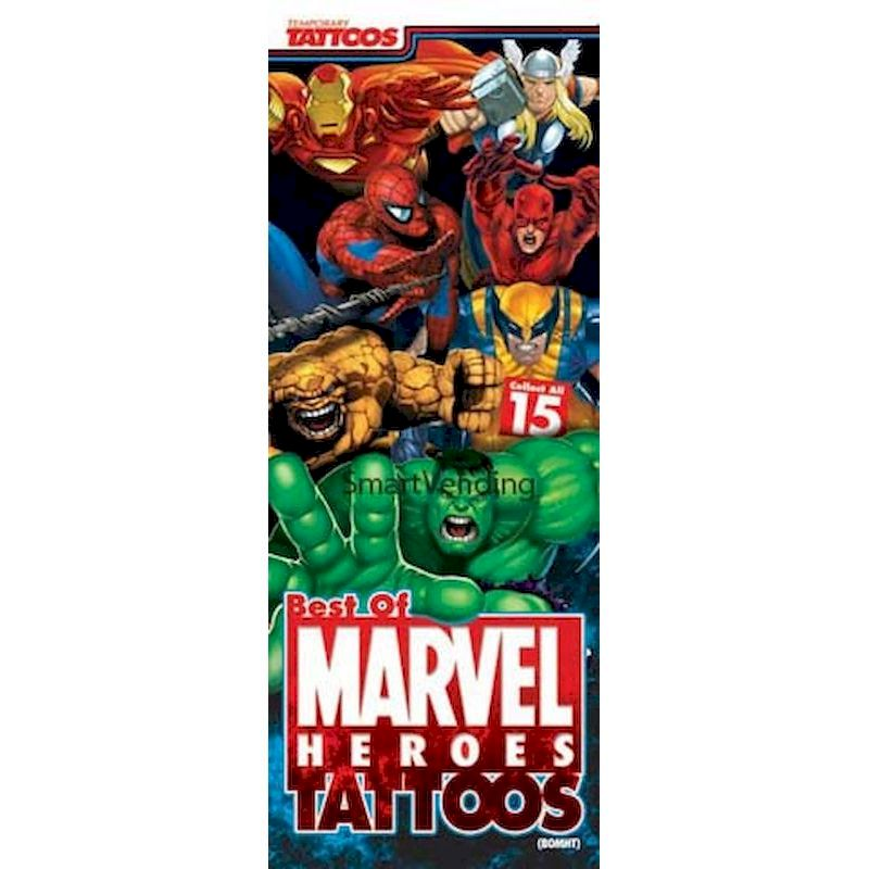 41-BOMHT - 2 Sided Display Card for Best of Marvel Heros Tattoos