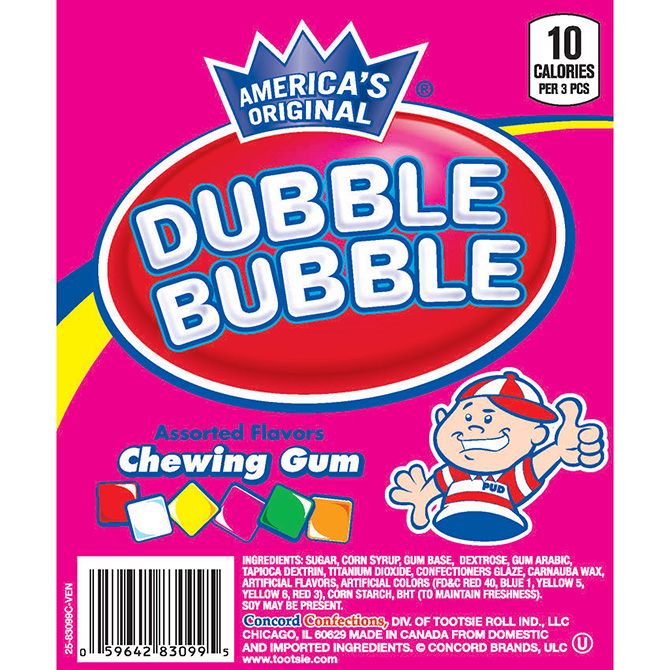 Dubble Bubble Chicle Gum Assorted Gum (9,900 ct.) 24.75 lbs. Net Wgt