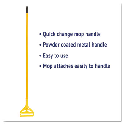"Boardwalk Quick Change Side-Latch Plastic Mop Head Handle 60"" Aluminum Handle Yellow"