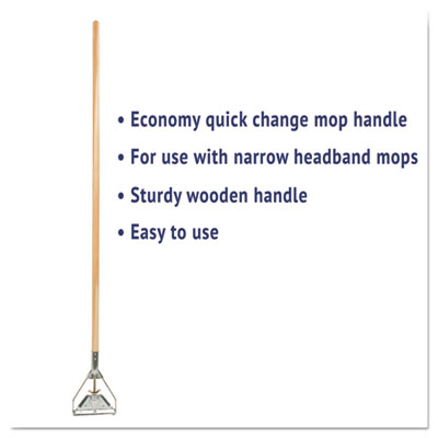 Boardwalk Quick Change Metal Head Mop Handle for No. 20 & Up Heads 54in Wood Handle