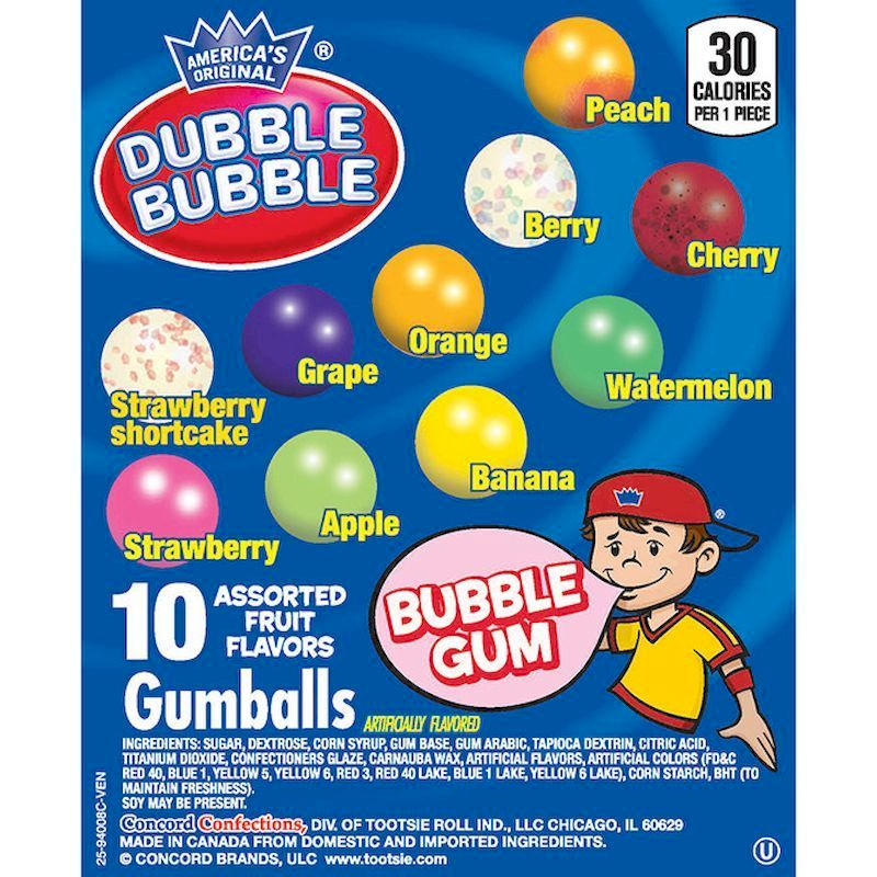 Dubble Bubble Assorted (10 Colors) Gumballs (850 ct.)