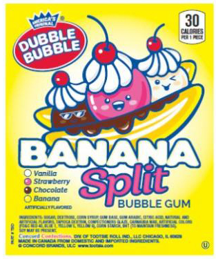 "Dubble Bubble Banana Split Gumballs 1"" (850 Ct.) 17.24 lbs."