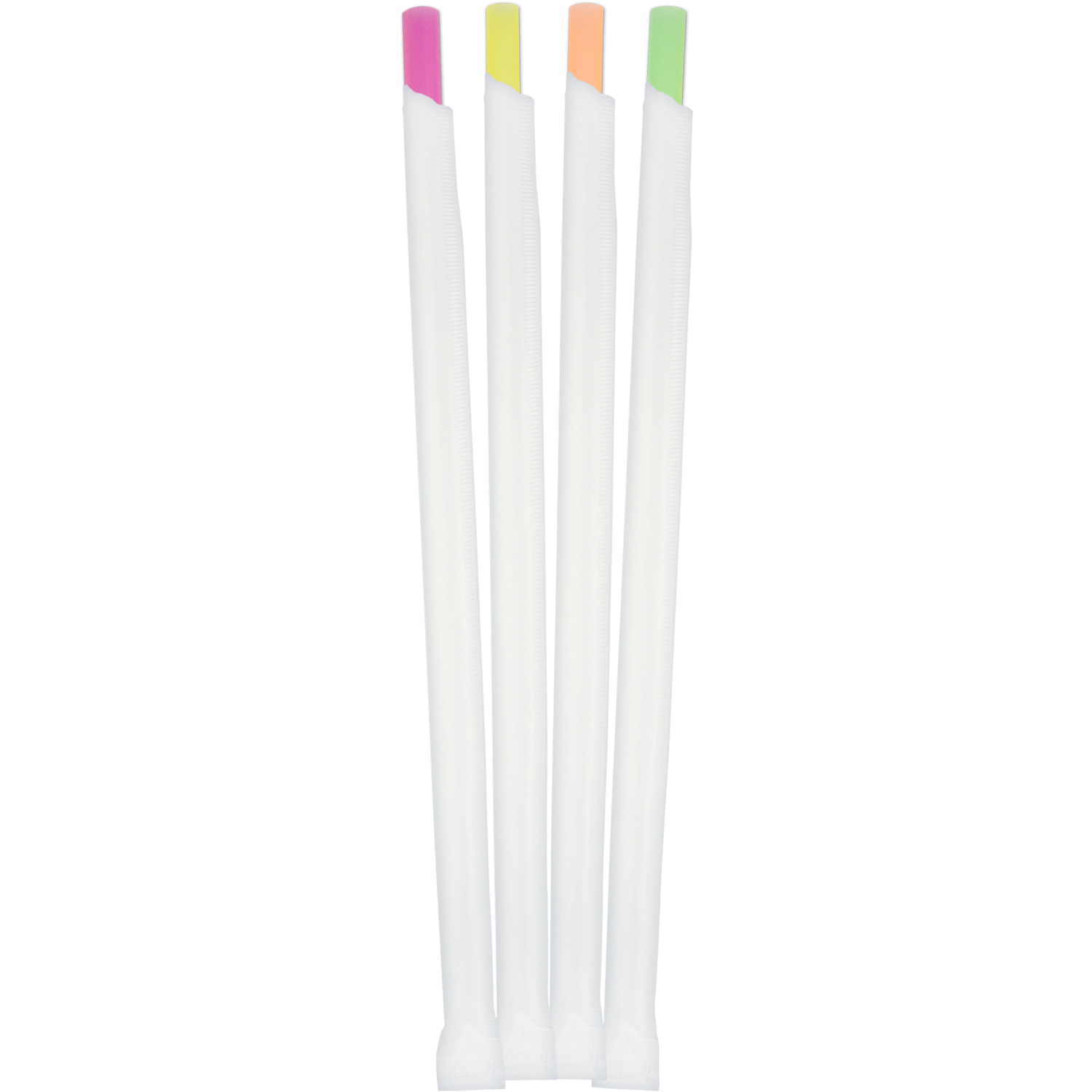 "Drink & Shake Straw Medium (8mm) Neon Assorted Super-Giant Wrapped 7.75""L - (6/300ct) 1,800/case"