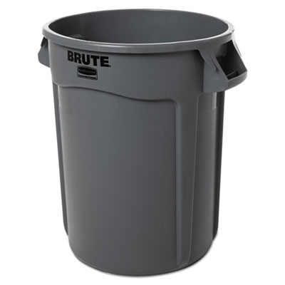 RubberMaid Round Brute Container Plastic 32 gal Gray