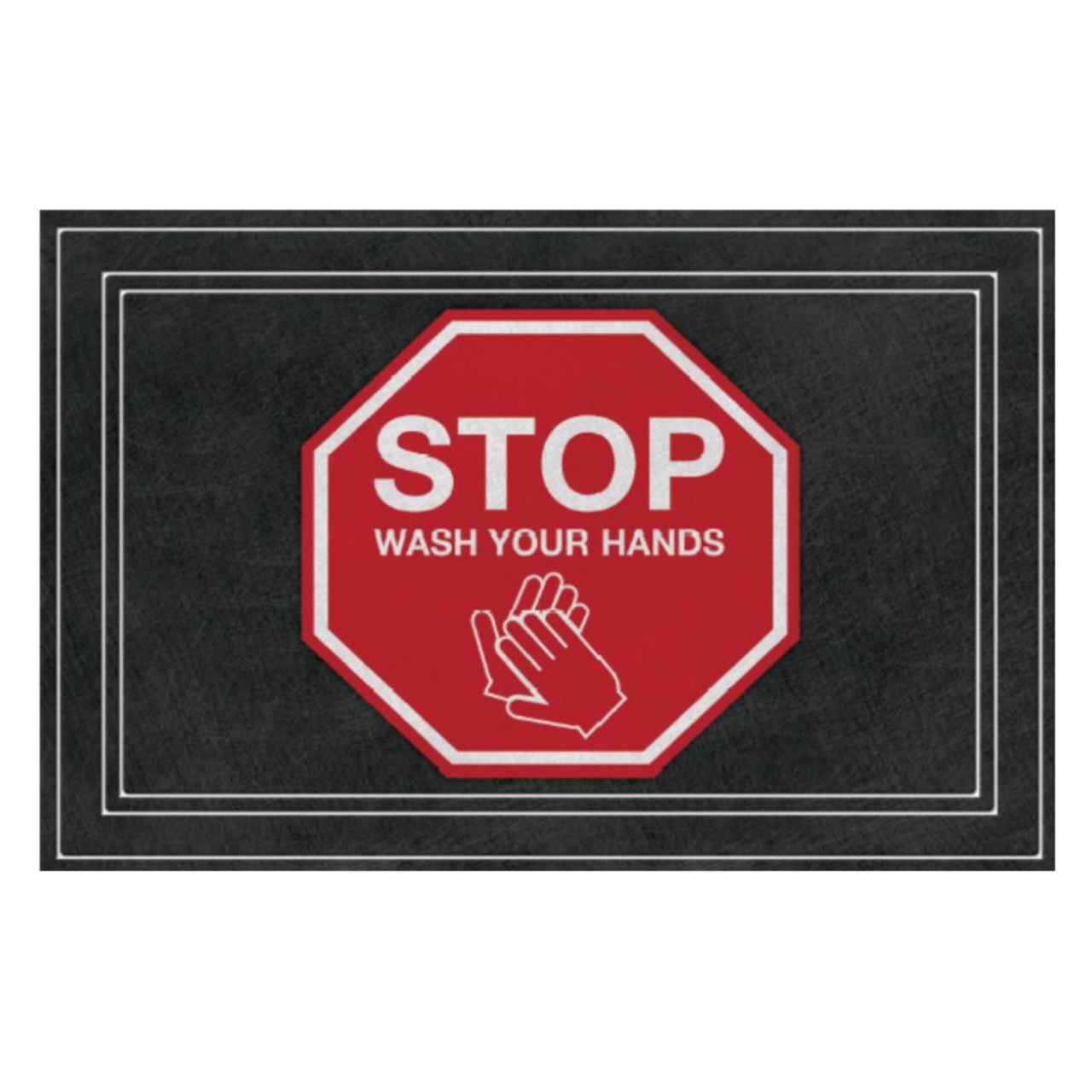 "SANIGUARD Germ Protection Awareness Rubber Molded Recycled Mat Wash Your Hands Red 24"" x 36"""