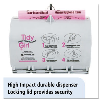 Stout Plastic Feminine Hygiene Disposal Bag Dispenser Gray