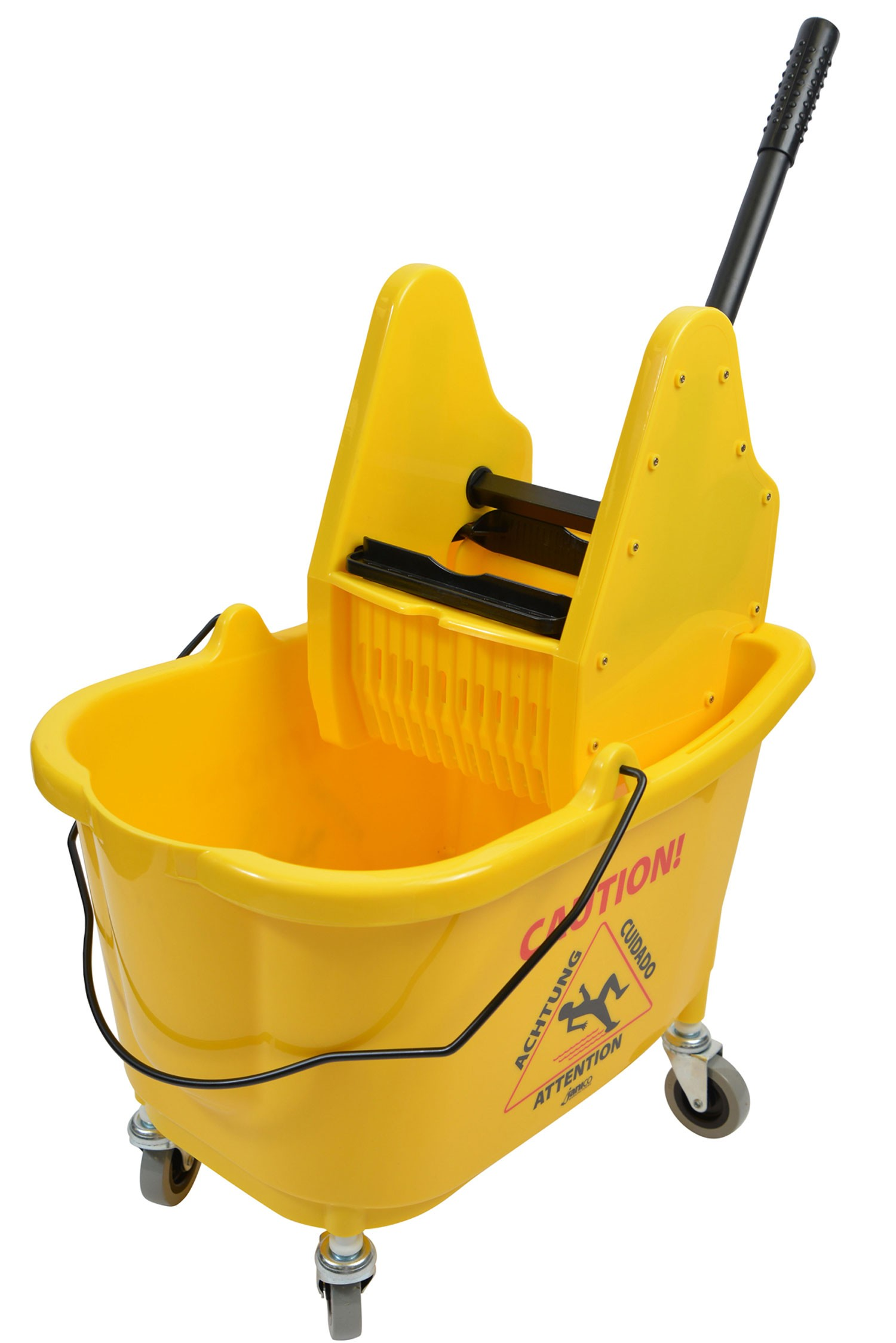 18-549315 - 35 Qt Yellow Mop Bucket With Down Press Wringer Combo