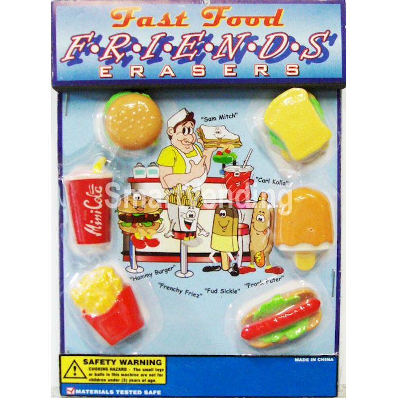 "30-FFER3C1 - Fast Food Friends Erasers in 1.1"" Capsules (250 ct.)"