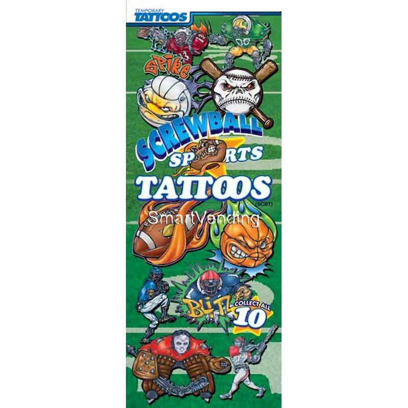 41-SBSPT - Display Card for Screwball Sports Tattoos (2 Sided)