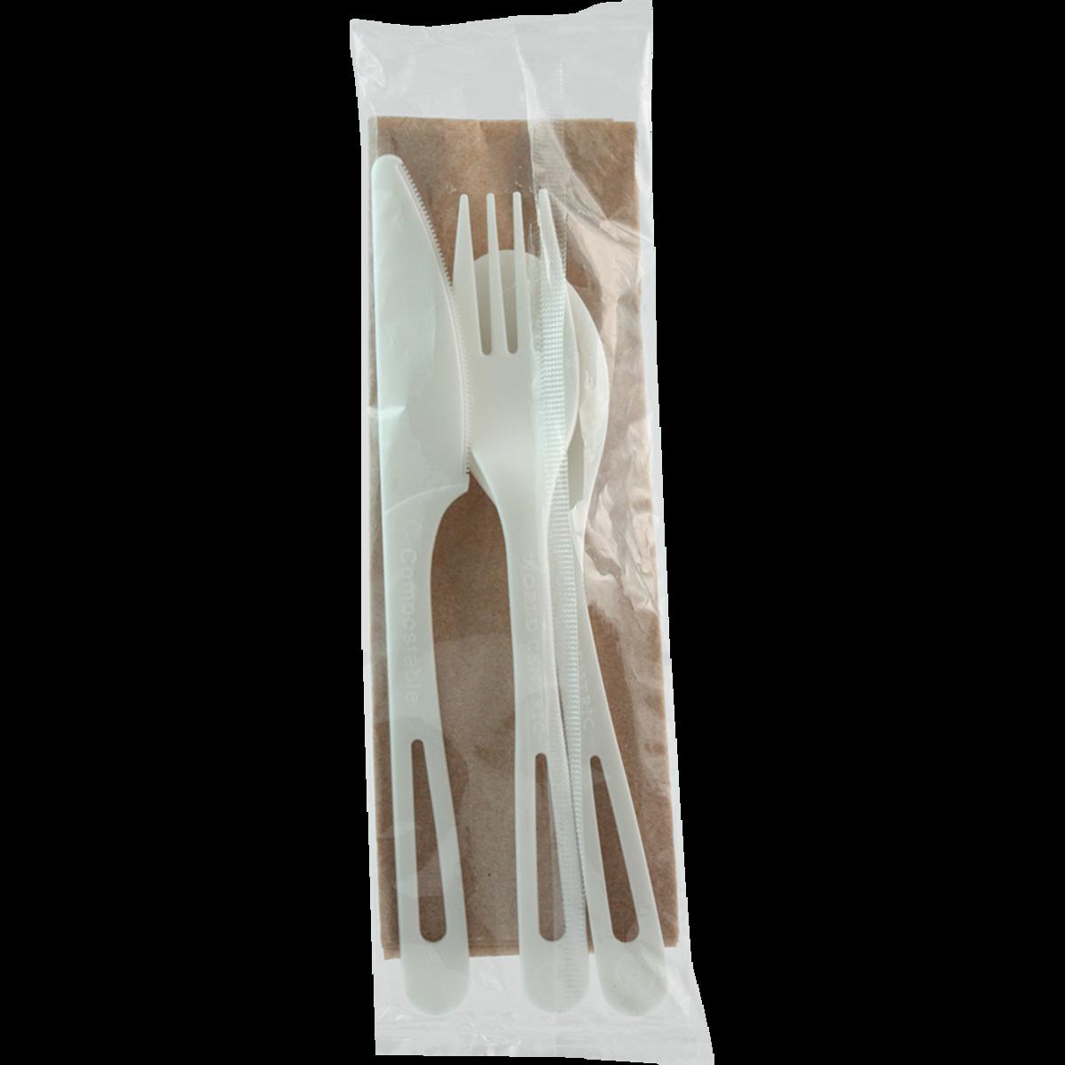 "WCT White Compostable Medium-Hvy Wt. 6"" F/K/S Napkin Kit AS-PS-TN 250ct"