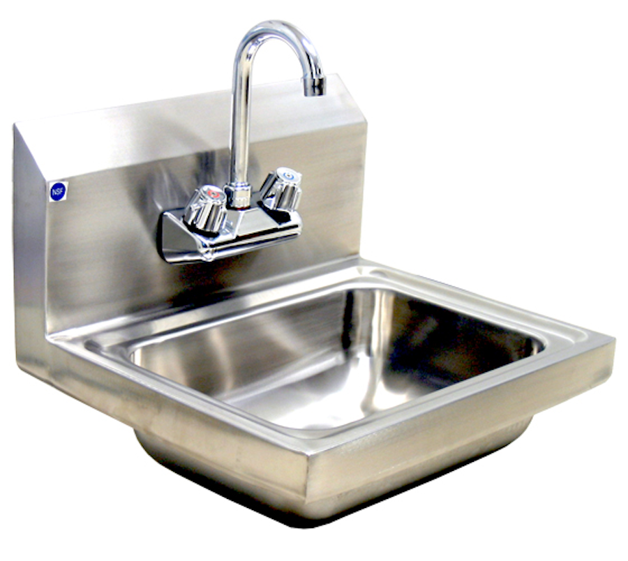 """Blue Air Hand Sink 1 compartment 10"""" front‐to‐back x 14""""Wide x 5"""" deep bowl 18/304 SS LG"""
