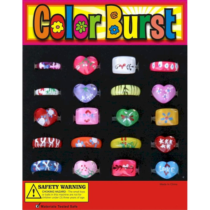 30-COBRGC1 - Color Burst Acrylic Rings in 1.1 inch Capsules (250 ct.)