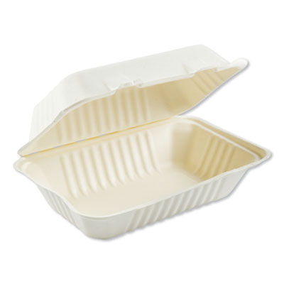 Bagasse Food Containers, Hinged-Lid, 1-Compartment 9 x 6 x 3.19, White, 250/carton