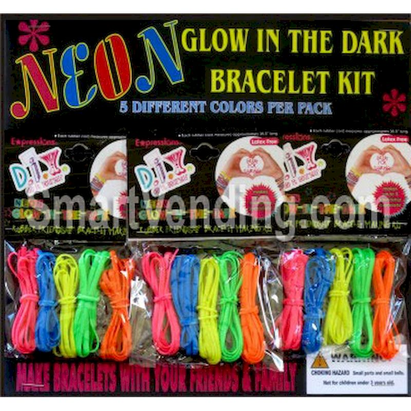 30-NGBRC2 - Neon Glow in the Dark Bracelet Kits (5 per Capsule) in 2 inch Capsules (250 ct.)