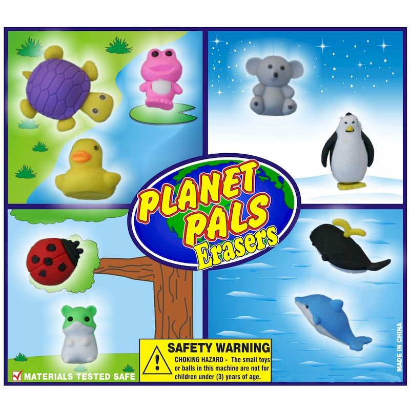 30-PLPLERC2 - Planet Pals Erasers in 2 inch Capsules (250 ct.)