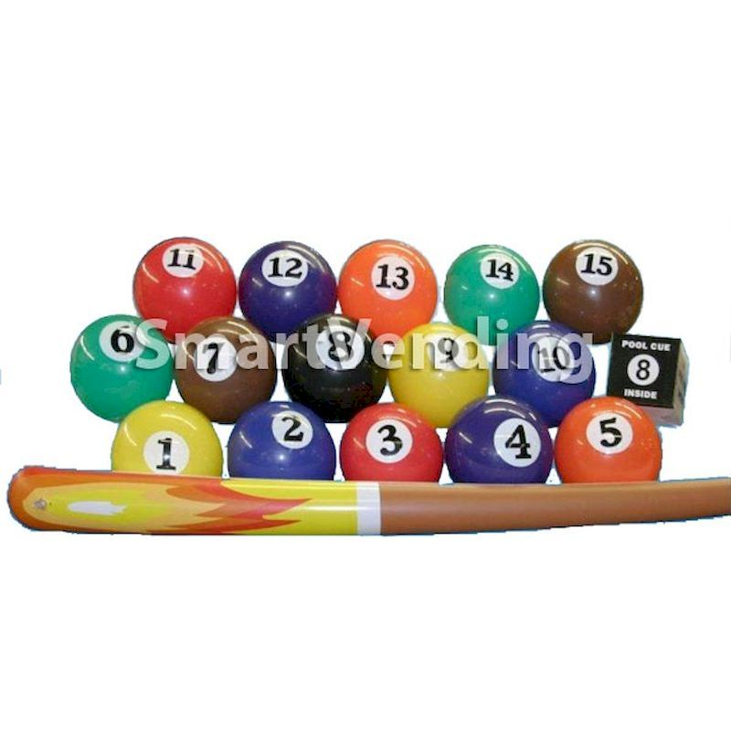 50-POB250-6 - Pool Balls w/Cue Sticks Inflatable Mix (Uninflated) 250 ct.