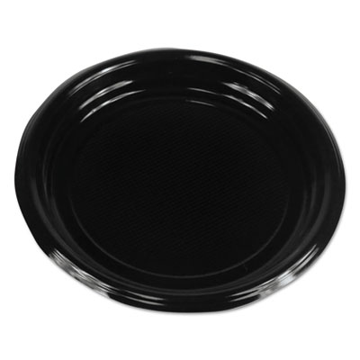 "18-BWKPLTHIPS9BL - Boardwalk Hi-Impact Plastic Dinnerware Plate 9"" Diameter, Black 500/Carton"