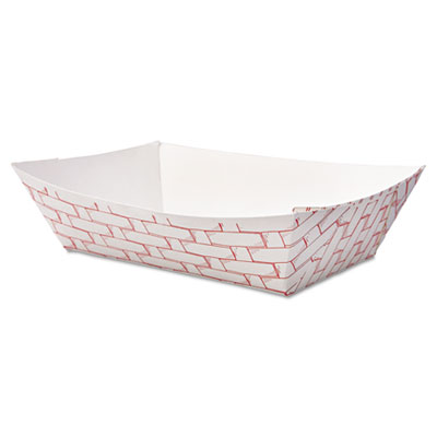 18-BWK30LAG200 - Boardwalk Paper Food Baskets 2lb Capacity Red/White 1000/Carton