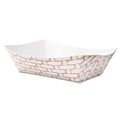 18-BWK30LAG300 - Boardwalk Paper Food Baskets 3lb Capacity Red/White 500/Carton