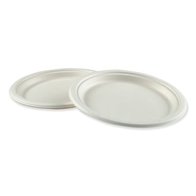 "18-BWKPLTWF10 - Boardwalk Bagasse Molded Fiber Dinnerware Plate 10"" Diameter White 500/Carton"