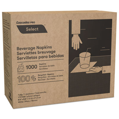 Cascades Pro N010 Select Beverage Napkins 1 Ply 8 1/2 x 8 1/2 White (1000/PK) 4000/Carton