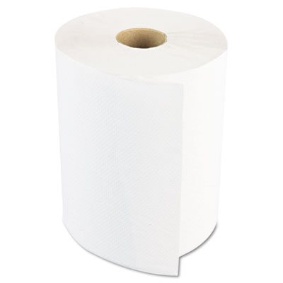"""Hardwound Paper Towels, 8"""" x 800ft, 1-Ply, White, 6 Rolls/Carton"""
