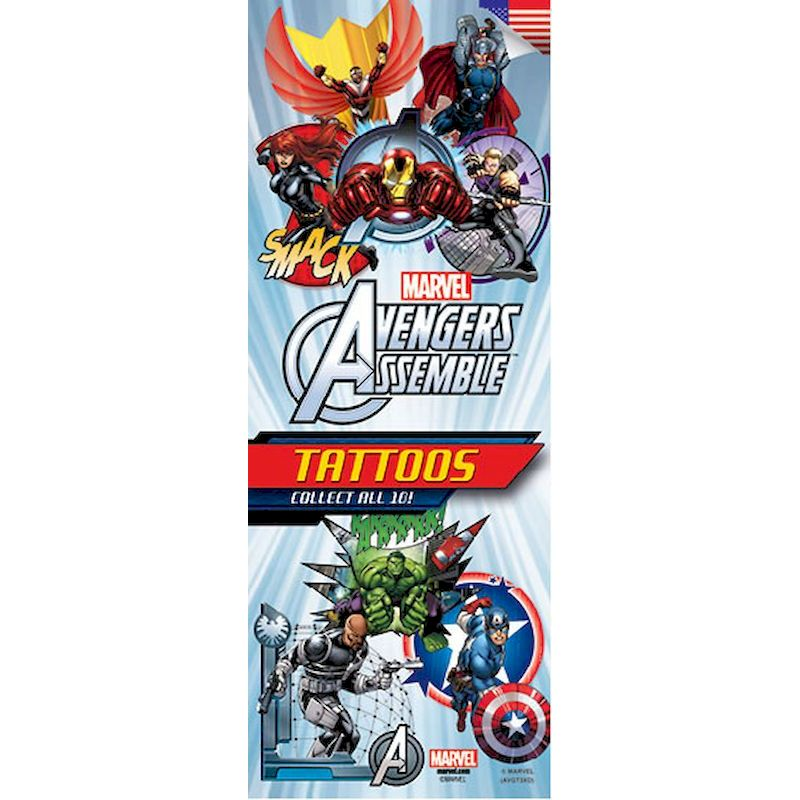40-AVGT3 - Marvel Avengers Assemble Tattoos Series 3 in Folders 10 Designs (300 ct) with Display Card
