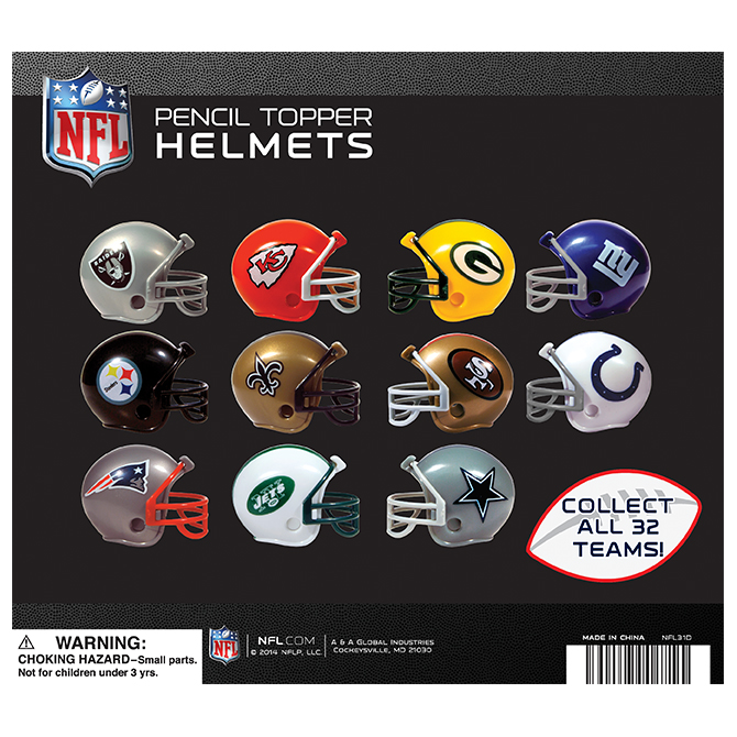 NFL Football Helmet Pencil Toppers in 2 inch Capsules (250 ct)