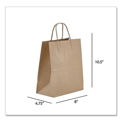 PT Kraft Paper Bags, Tempo, 8 x 4.75 x 10.5, Natural, 250/Carton