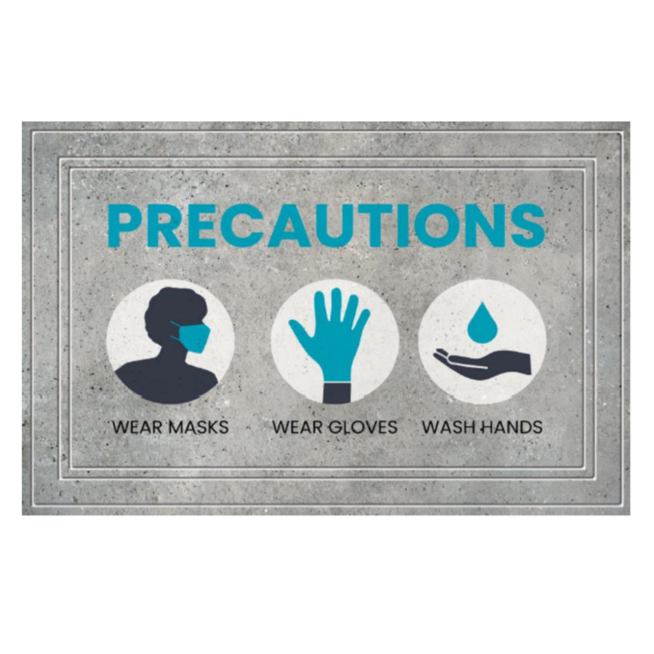 "SANIGUARD Germ Protection Awareness Rubber Molded Recycled Mat Precautions Grey 24"" x 36"""