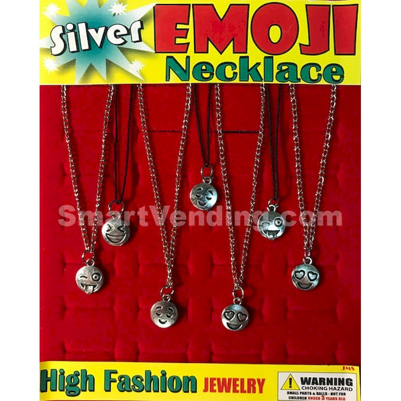 Silver Emoji Necklaces in 1.1 inch Capsules (250 ct.)