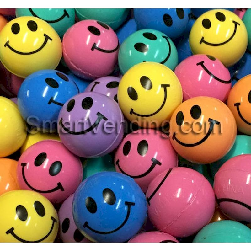 27SMB144 - 27mm Smile Bouncy Balls Assorted (144 ct.)