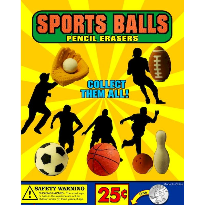 30-SPBLEC1 - Sports Balls Pencil Erasers in 1.1 inch Capsules (250 ct.)