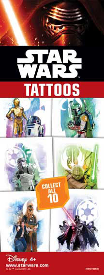 40-SWCT - Star Wars Classic Tattoos 10 Designs in Folders with FREE Display (300 ct.)