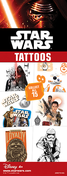 40-SWE7T - Star Wars Episode 7 Tattoos 15 Designs in Folders with FREE Display (300 ct.)