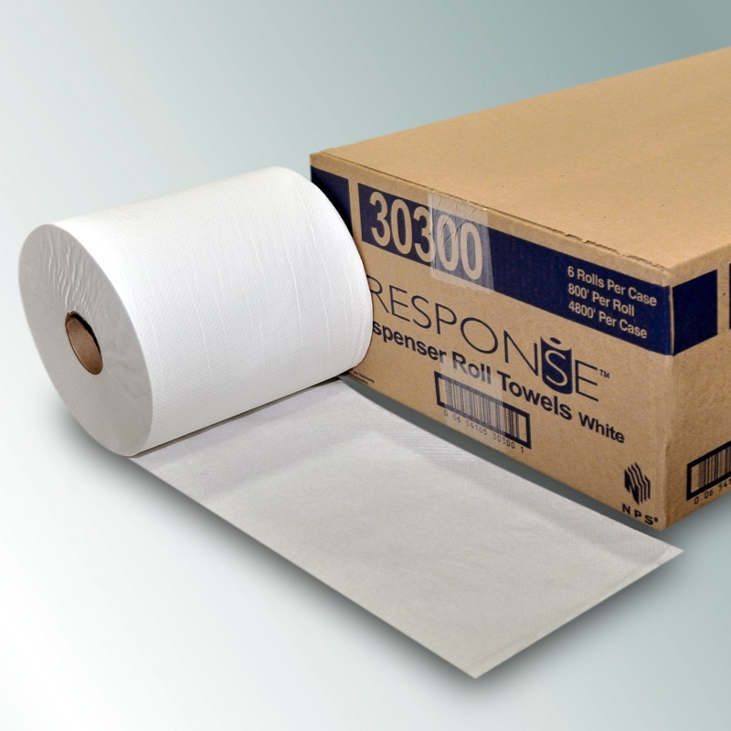 18-572804 - NPS 30300 - White Roll Towel 6/8x800 Case