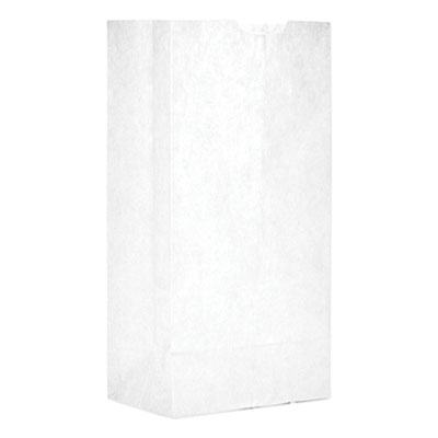 """GEN Grocery Paper Bags 30 lbs Capacity (#4) 5""""w x 3.33""""d x 9.75""""h White 500 Bags"""